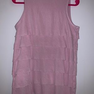 A pink rose top without sleeves